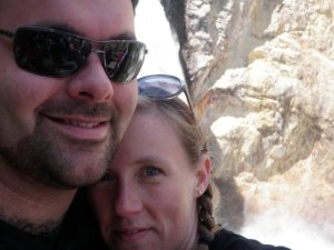 Me and Adam on our best vacation ever, standing at the bottom of Lower Falls in Yellowstone National Park.