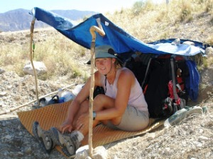 There's no shade trees in the desert, and no culverts big enough for us, so we made our own shade!