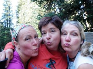 No makeup. Well, except for the natural stuff... this is me, Rachel and my mom getting pretty with the dirt.