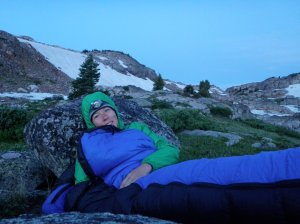 """Cuddling with """"Adam"""" at sunrise in the Beartooth Mountains, Montana. 2011"""