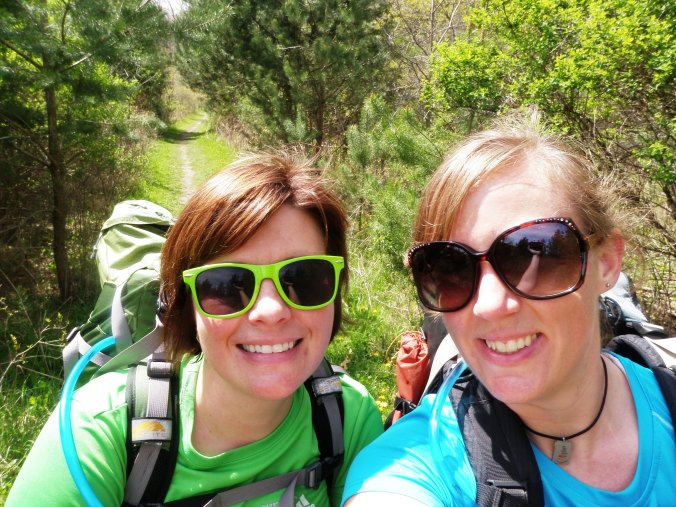 Rachel and me on one of our early training hikes. South Kettle Moraine, April 2012.