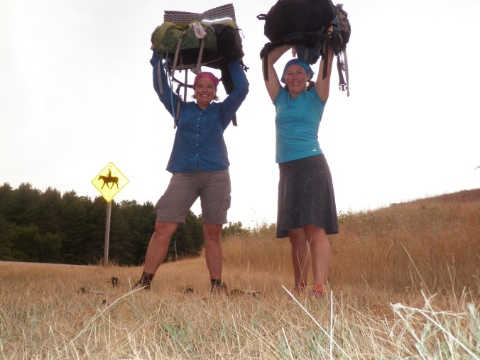 Rachel and I feeling success after our longest hiking day - 30 miles!