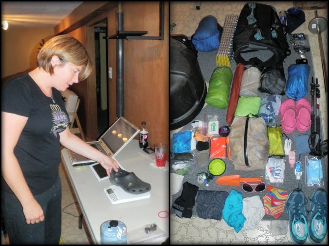 (Left) Rachel weighing a Croc/campshoe (Right) My gear all laid out