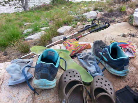 Brooks Cascadias, Injinji socks, Superfeet Insoles, Dirty Girl Gaiters, and Croc camp shoes