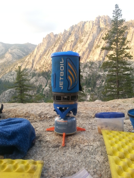 Jetboil dinner with a sunset view