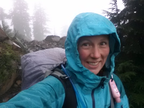 Hiking in the rain on the PCT