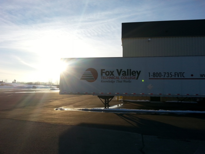 A Fox Valley Tech trailer at sunet