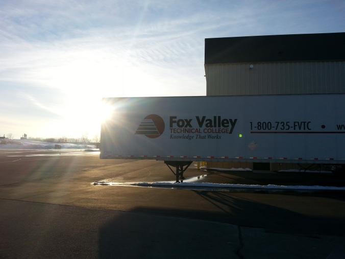 A Fox Valley Tech trailer at sunet