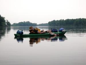 Richard relaxing on a kayak